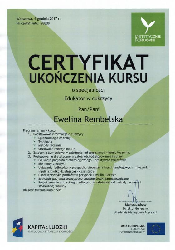 Ewelina Rembelska Cukrzyca-certyfikat